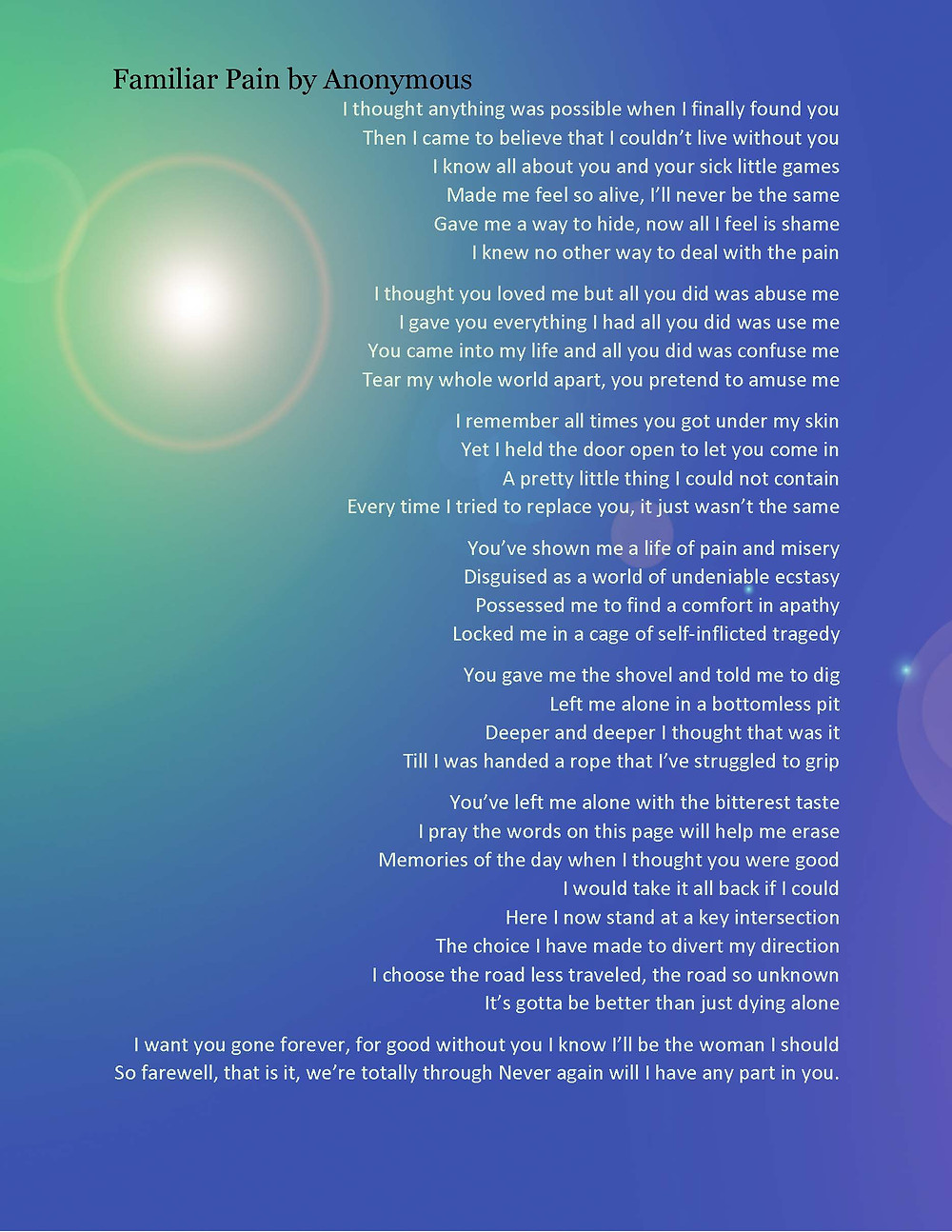 A poem written by a person in  recovery that was auctioned at our Holiday event.