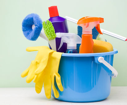 household cleaning supplies - gloves, mop, scrubbers, cleaners