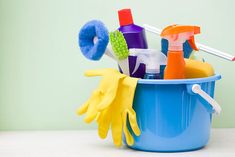 A bucket of cleaning supplies