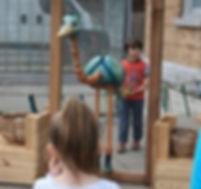 Children play in an interactive playground