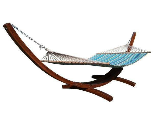 "14"" Teak Stain Wooden Arc Hammock Stand & Quilted Hammock Bed. 450 LB Capacity."