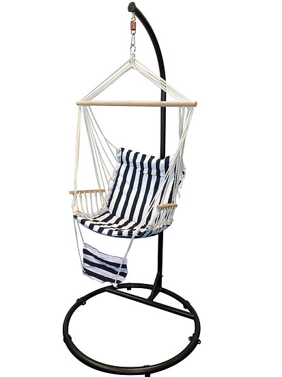 "84"" Black, ""C"" Top Hanging/Swinging Hammock Chair Stand w/ Armrest Chair."
