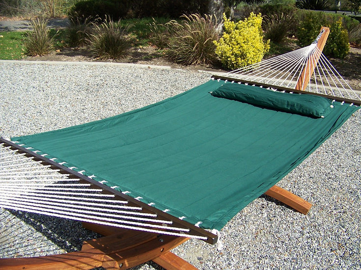 "14"" Teak Stain Wooden Arc Hammock Stand + Hammock Bed w/Pillow. 450 Lb Capacity"