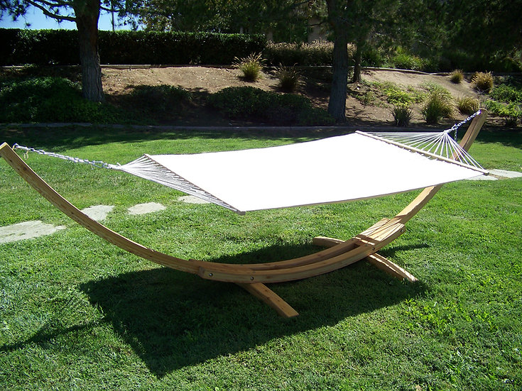 "14"" Natural Wooden Arc Hammock Stand + Quilted Hammock Bed. 450 LB Capacity"