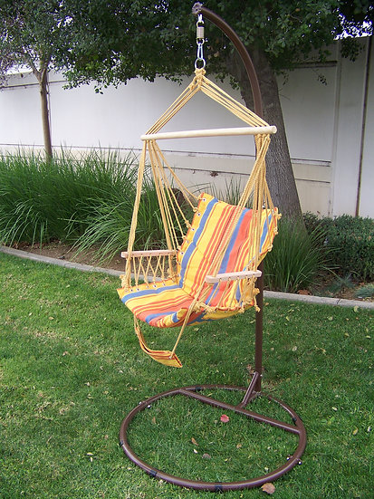 "84"" Brown, ""C"" Top Hanging/Swinging Hammock Chair Stand w/ Armrest Chair."