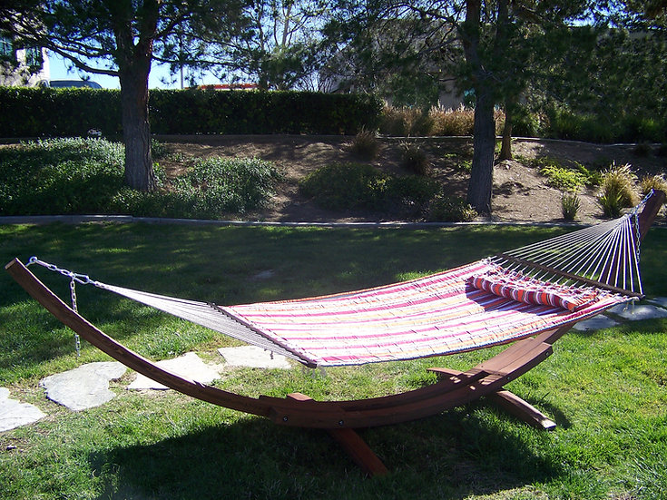 "14"" Brown Stain Wood Arc Hammock Stand & Hammock Bed w/Pillow. 450 LB Capacity."