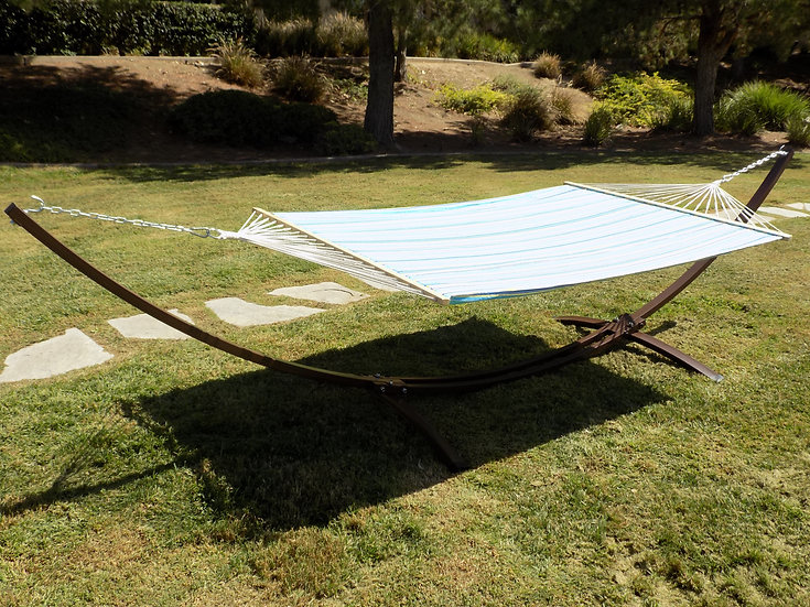 15 Ft. Indoor/Outdoor Brown, Heavy Duty Steel Arc Hammock Stand w/Bed.