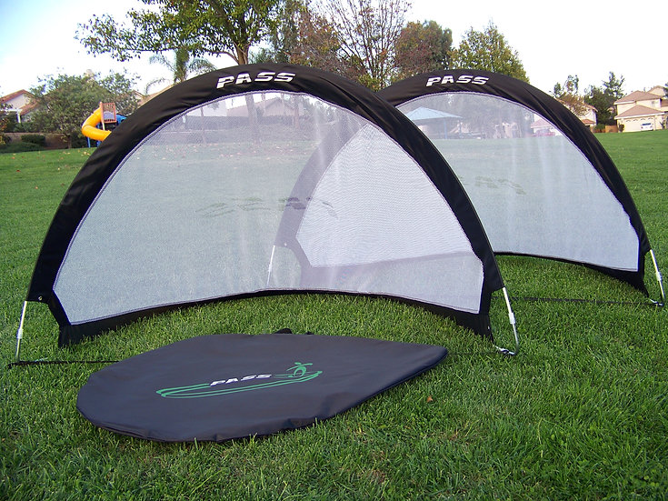 "5 ""Footer"" Pop up Fold-able, Portable Soccer Football Nets w/Carry Case. (Pair)"