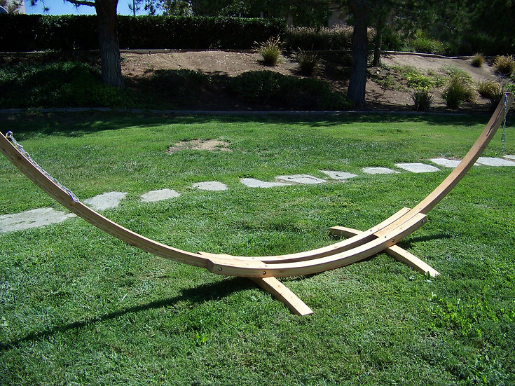 14 Ft. Natural Wooden Arc Hammock Stand. 450 LB Capacity.(STAND ONLY
