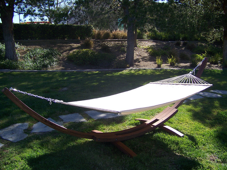 "14"" Brown Stain Wood Arc Hammock Stand & Quilted Hammock Bed. 450 LB Capacity"