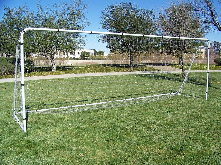 18.5 x 6.5 Ft. Official Regulation Size. Heavy Duty Steel Soccer Goal w/Net.