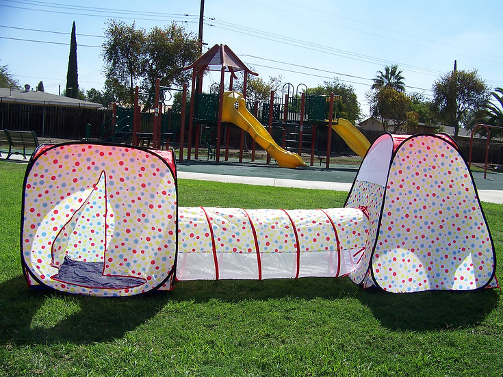 Boys and Girls Polka Dot Tunnel Play Tent. Indoor, Outdoor, Play Ground or Room.