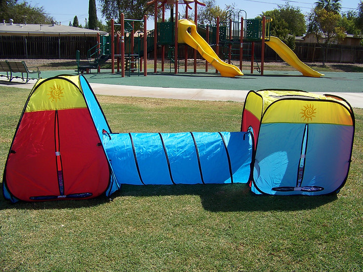 Boys and Girls Red/Blue/Yellow Tunnel Play Tent. Indoor, Outdoor, Play Ground.