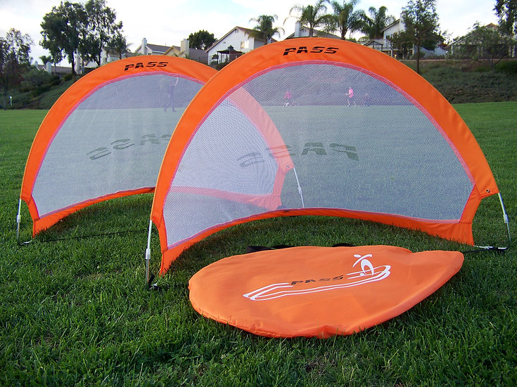 "4 ""Footer"" Pop up Fold-able, Portable Soccer Football Nets w/Carry Case. (Pair)"