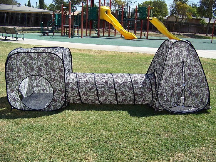 Boy's Camouflage Tunnel Play Tent. Indoor, Outdoor, Play Ground or Room Play Hut