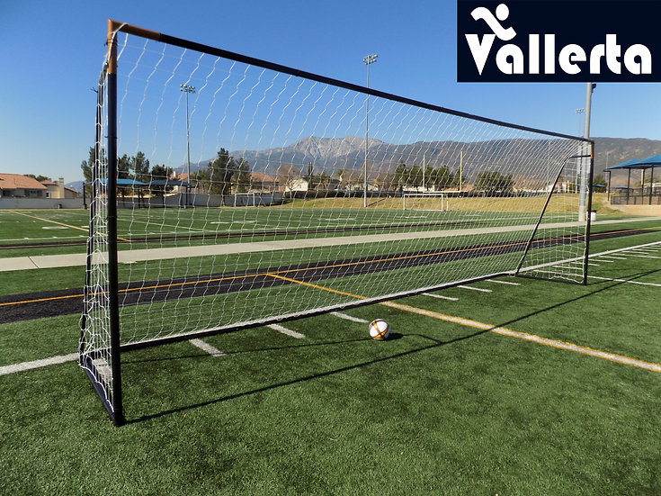 24 x 8 Ft. Official Regulation MLS/FIFA Size Goal w/Net. Black Powder Coat Steel