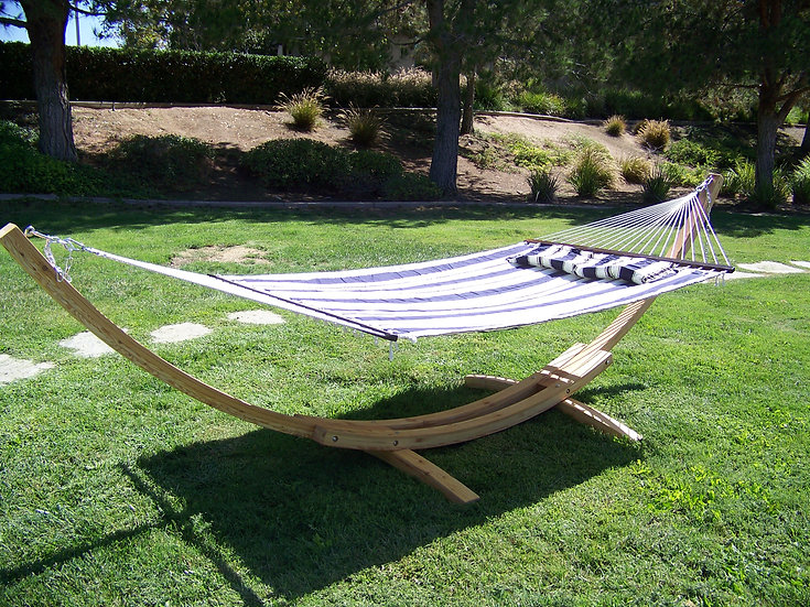 "14"" Natural Wooden Arc Hammock Stand + Hammock Bed w/Pillow. 450 LB Capacity"