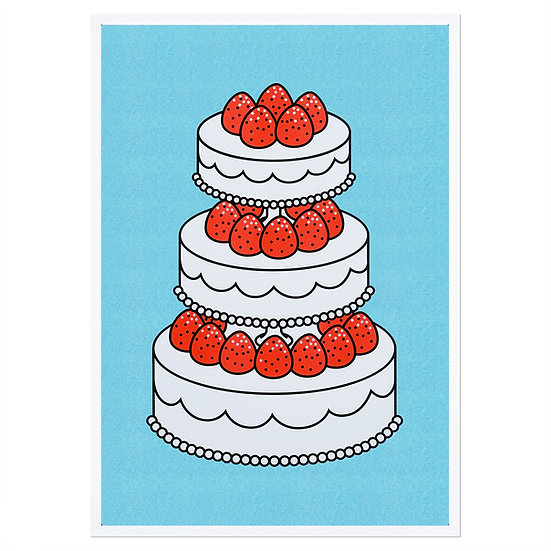 STRAWBERRY CAKE SKYBLUE | A3 RISO poster
