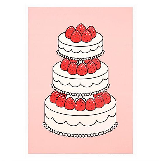 STRAWBERRY CAKE pink   Silkscreen poster