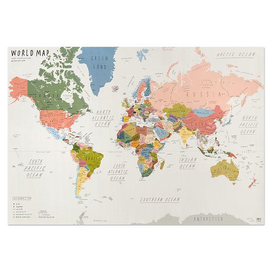 WORLD MAP beige | World map poster