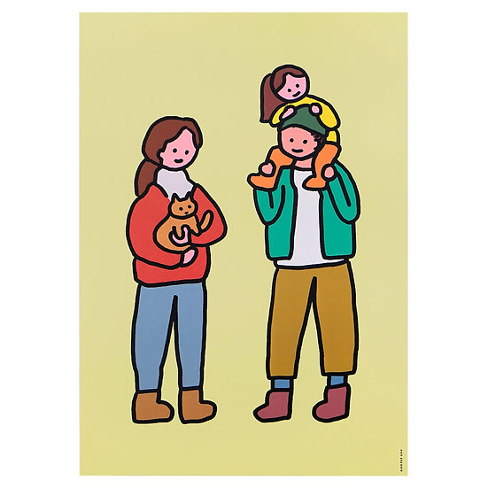 FAMILY OF THREE&CAT | A3 poster