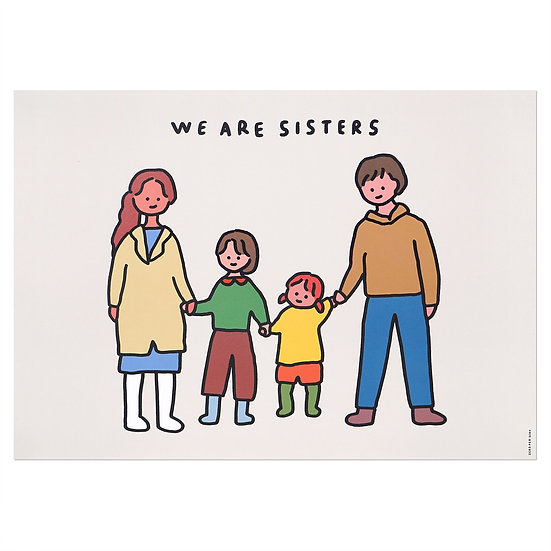 FAMILY OF FOUR 4 (SISTERS) | A3 poster