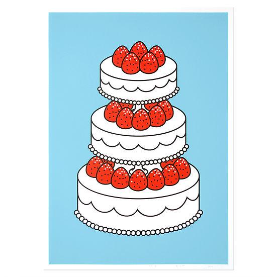 STRAWBERRY CAKE skyblue | Silkscreen poster