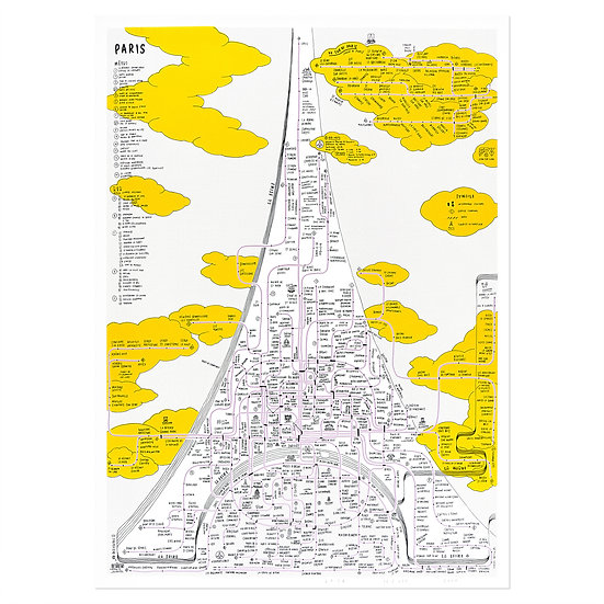 PARIS hand yellow   Silkscreen poster