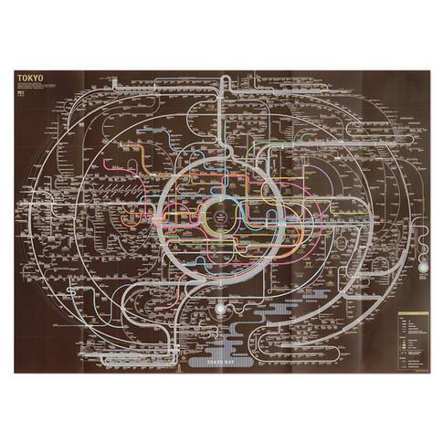 Tokyo brown Railway Map