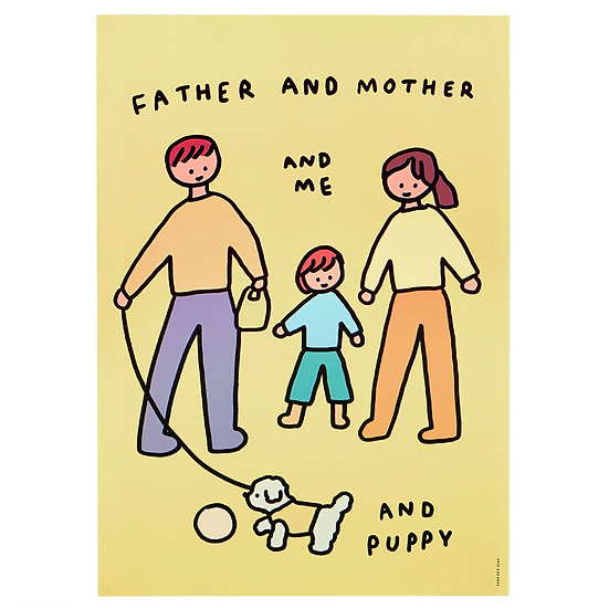 Family of three & Puppy | A3 poster
