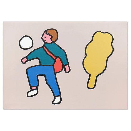 BOY PLAYING BALL | A3 poster