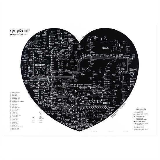 NYC HEART hand black | Silkscreen poster