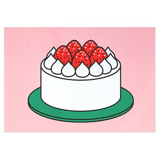 STRAWBERRY CAKE pink | Silkscreen card