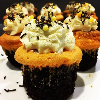 Kates Kakes Brownie Cupcakes With Vanilla Frosting.