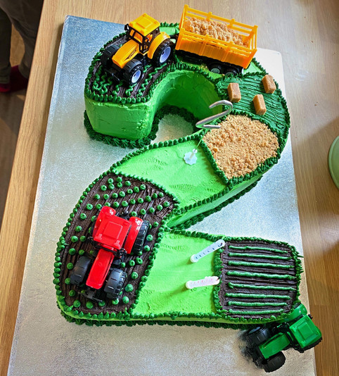 Kates Kakes Number Two Tractor Themed Birthday Cake