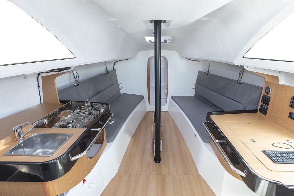 interiør ny yacht til salgs