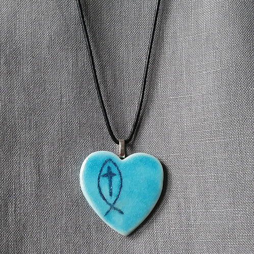 Turquoise cross & fish heart