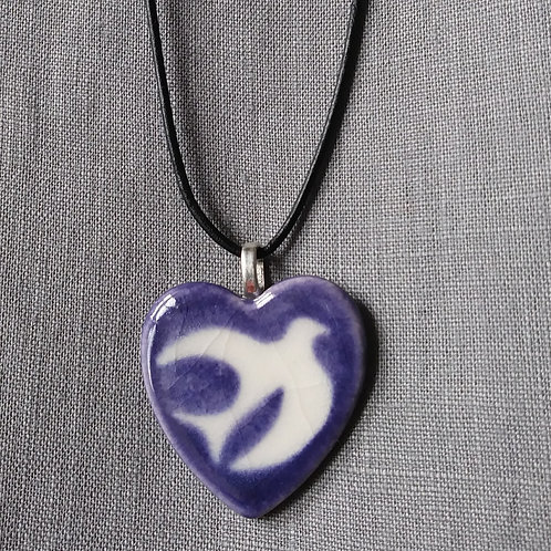 Dove Heart with purple background