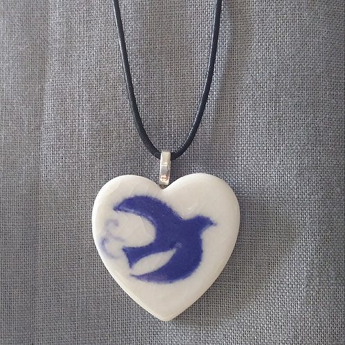 Blue bird heart pendant