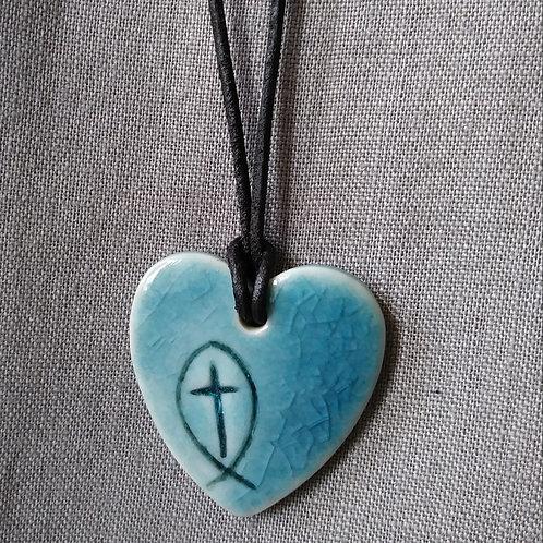 Glazed cross & fish heart