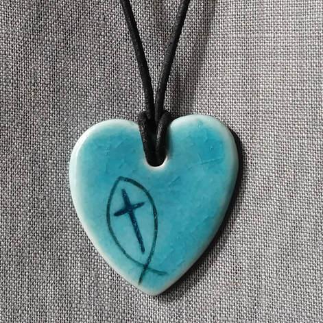 Blue grey cross heart
