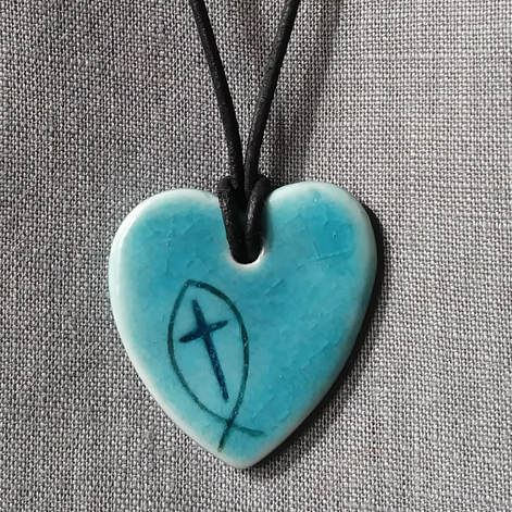Blue grey cross heart