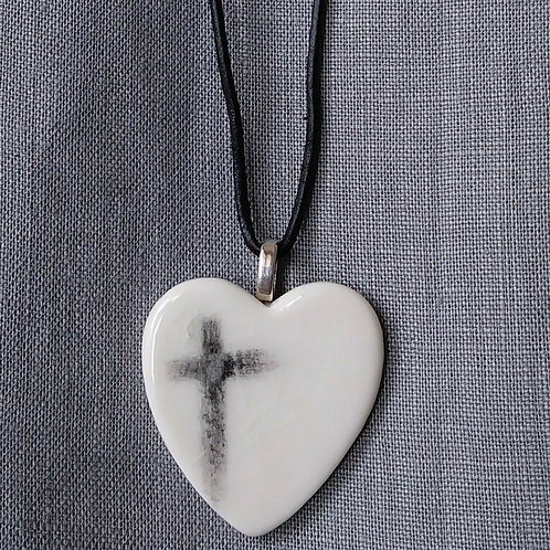 Ash cross heart pendant