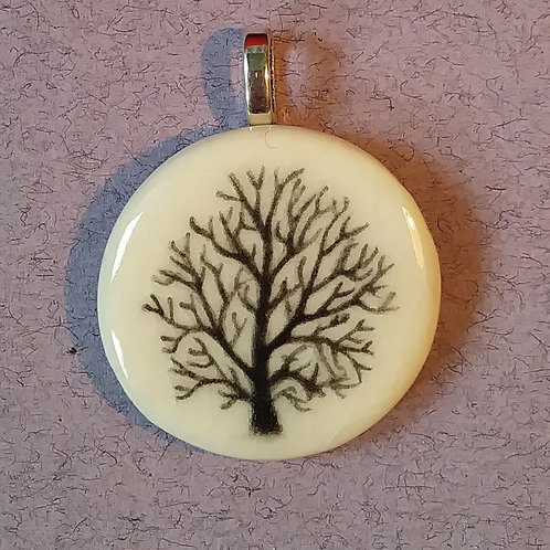 Hand painted tree pendant