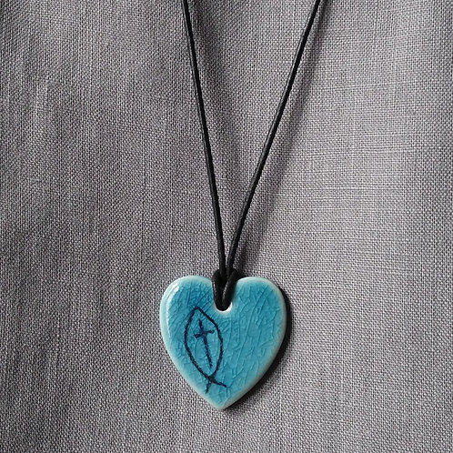Blue grey glazed heart with cross and fish