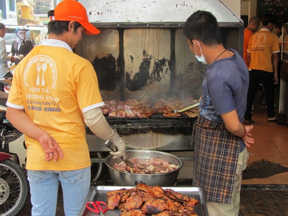 Cooking pork on the streets