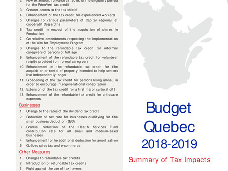 Highlights 2018 Quebec Budget