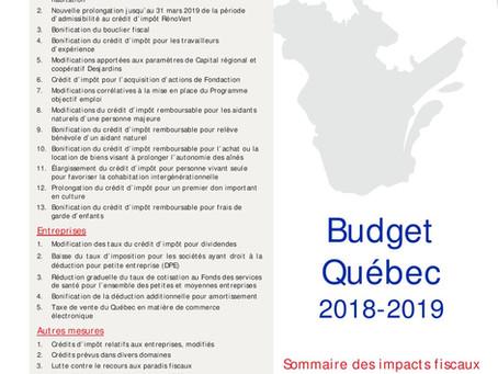 Faits saillants Budget Québec 2018