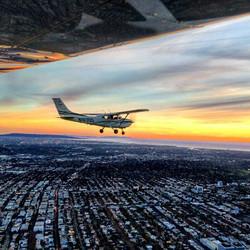 Cessna 182   Sunset over DTLA