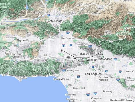 Rose Bowl & Pasadena - Route Map